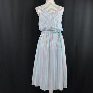 Vintage Pastel Striped Sleeveless Belted Sundress